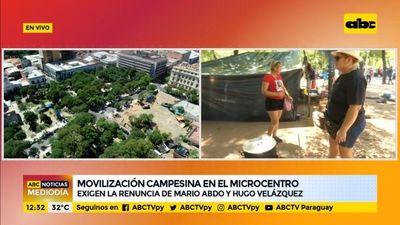 Campesinos se movilizan por el microcentro
