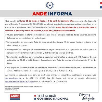 Oficinas de la ANDE permanecerán cerradas del 29 de marzo al 4 de abril, anuncian