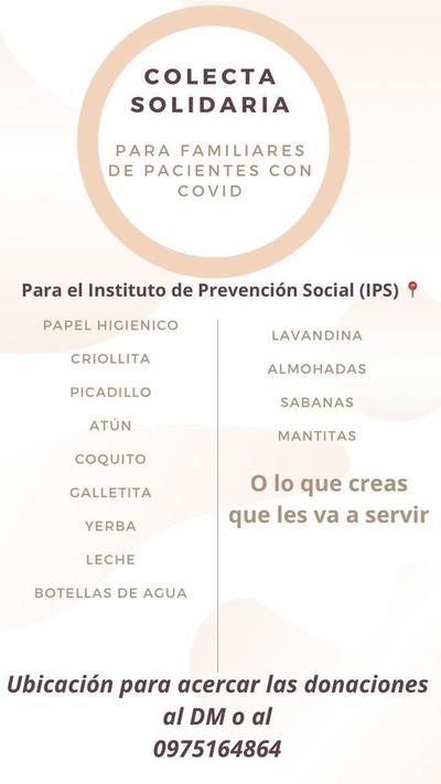 ORGANIZAN COLECTA PARA FAMILIARES DE PACIENTES CON COVID