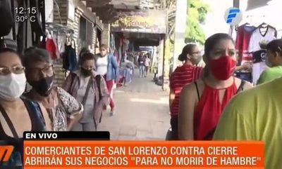 Comerciantes de San Lorenzo no acatarán las restricciones