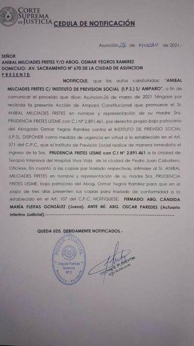 Jueza ordena que paciente con COVID ingrese a terapia, pero no se cumple la orden por falta de cama  Hospital Viva Vida de la ciudad de Pedro Juan Caballero