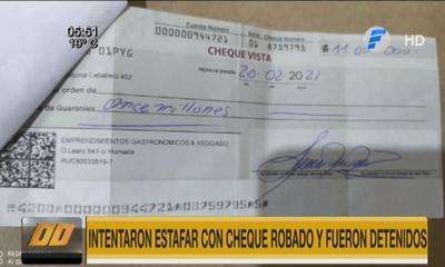 Intentaron estafar con cheque robado y fueron detenidos