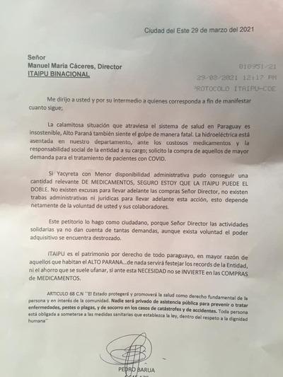 Piden que Itaipu compre medicamentos para pacientes con covid