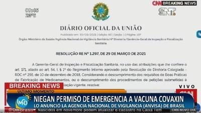 Niegan permiso de emergencia a Vacuna COVAXIN