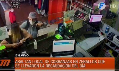 Asaltan local de cobranzas en Zeballos Cué