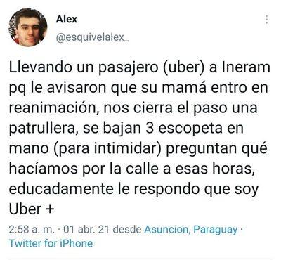 Uber denuncia extorsión policial a un hombre que iba al Ineram para auxiliar a su madre