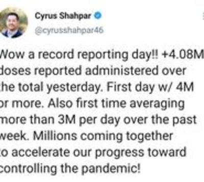 Estados Unidos aplicó más de 4 millones de vacunas en un día