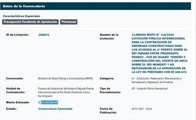 """MOPC tuvo que cancelar una licitación de US$ 50 millones para """"revisar"""" proyecto"""