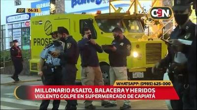 Millonario asalto a transportador de caudales, balacera y heridos en Capiatá