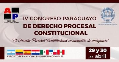 29 Y 30 DE ABRIL: IV CONGRESO PARAGUAYO DE DERECHO PROCESAL CONSTITUCIONAL