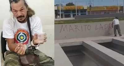 Detienen a Mbururú por pintar grafitis en contra de Marito