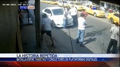 Taxistas y conductores de plataformas se enfrentan en San Lorenzo