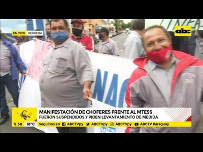 Manifestación de choferes frente al MTESS