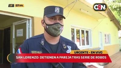 Detienen a pareja tras serie de robos en San Lorenzo