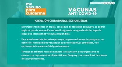 Extranjeros con cédula paraguaya podrán registrarse para recibir vacuna contra el covid-19