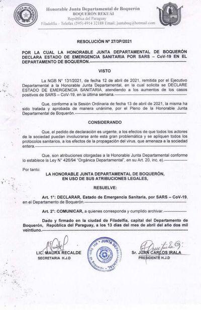 Ante panorama de salud incierto, Boquerón se declara en emergencia sanitaria