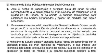 Ante irregularidades en vacunación, Salud anuncia que abrirá sumarios e investigaciones
