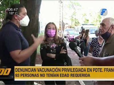 En Presidente Franco vacunaron a 93 personas menores de 85 años