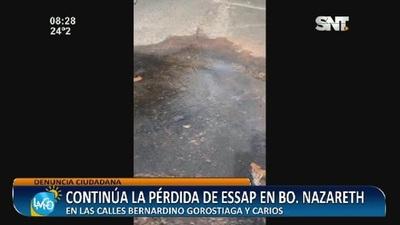 Continúa la pérdida de ESSAP en el Barrio Nazareth