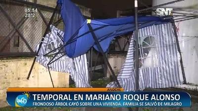 Tremendo temporal azotó Mariano Roque Alonso