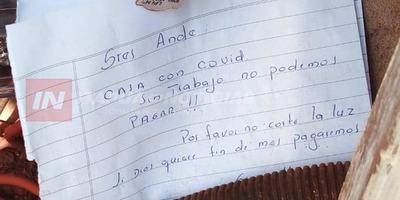 """SINGULAR PEDIDO A LA ANDE: """"CASA CON COVID-19, SIN TRABAJO NO PODEMOS PAGAR, POR FAVOR NO CORTE"""""""