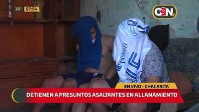 Detienen a presuntos asaltantes en allanamiento en la Chacarita