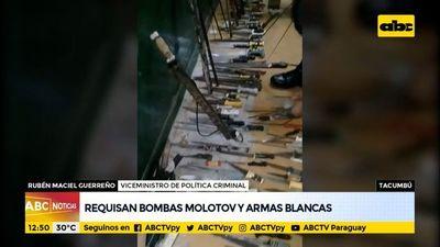 Requisan bombas molotov y armas blancas en Tacumbú