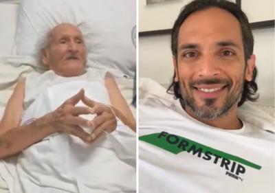 Roque Santa Cruz firmó una camiseta y grabó un video para un abuelito que lucha por su salud en el IPS