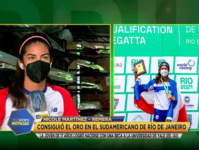 Nicole Martínez hablando en Tigo Sports