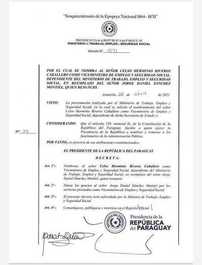 Celso Herminio Riveros es el nuevo viceministro de Empleo