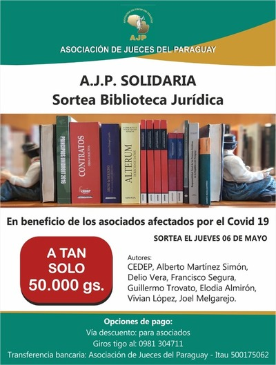 Jueces sortean biblioteca jurídica para ayudar a colegas con covid