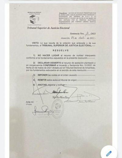 TSJE reconfirma que José Carlos Acevedo está 100% habilitado