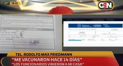 Friedmann confiesa que recibió la vacuna hace 14 días