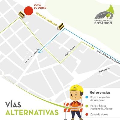 Desde este lunes dispondrán alternativas por asfaltado en rotonda de Primer Presidente y Artigas
