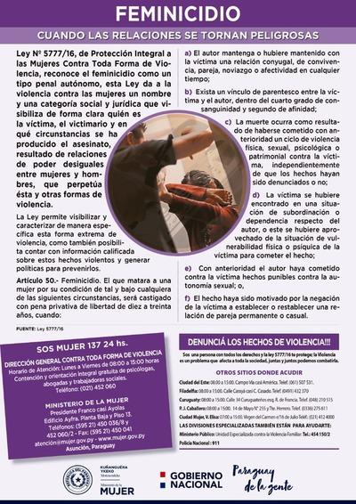 Paraguay registra un total de 11 feminicidios en lo que val del año