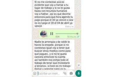 """Crónica / """"Si no te gusta que te llame, pagá tu cuenta"""""""