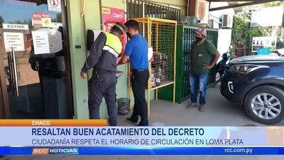 RESALTAN BUEN ACATAMIENTO DEL DECRETOCIUDADANÍA RESPETA EL HORARIO DE CIRCULACIÓN EN LOMA PLATA