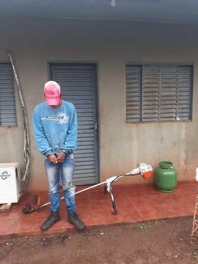 Arrestan a joven que hurtó desmalezadora y garrafa de un brasileño