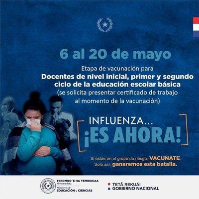 MEC extiende invitación a docentes a vacunarse contra la influenza