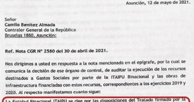 La Nación / Binacionales notificaron a CGR que no es posible una auditoría