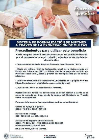 Exoneración de multas a las mipymes asciende a más de 950 millones de guaraníes