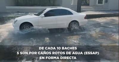 La Nación / Mayoría de baches en Asunción es por caños rotos de Essap, dice intendente