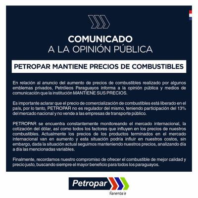 """""""Petropar mantiene sus precios de combustibles"""", pero por esta semana, aclara su titular, Denis Lichi"""