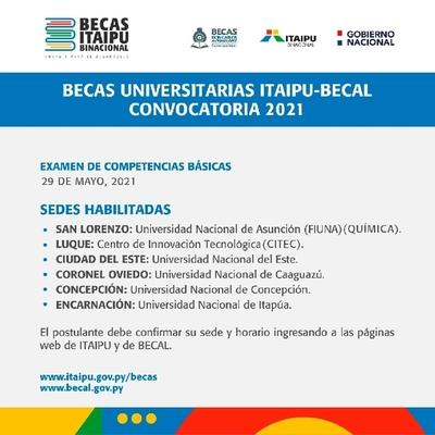 Examen para becas Itaipu-Becal se desarrollará en varias sedes habilitadas