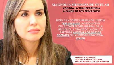 La esposa de Trato apu'a zapatea contra intención de auditar gastos sociales de Itaipú