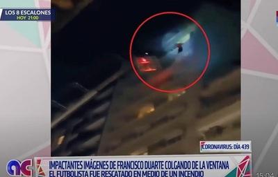 Dramático rescate: Salvan a futbolista de incendio en el piso 11 de hotel