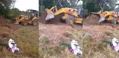 Crónica / Murió por covid y la enterraron ¡con un tractor!