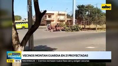 Vecinos montan guardia en 21 Proyectadas de Asunción