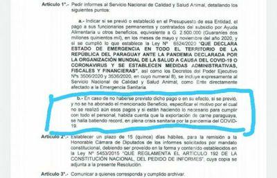 Diputados pide informe al Senacsa si se pagó o no gratificaciones a funcionarios