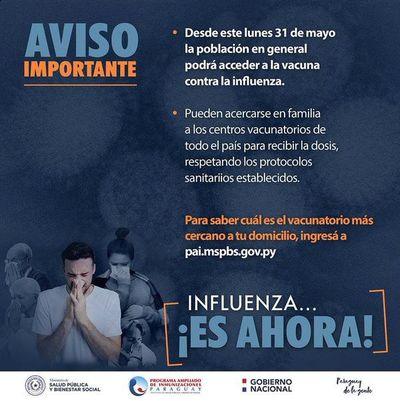Desde el lunes, población en general podrá acceder a la vacuna antiinfluenza